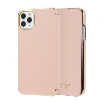 kate spade new york Folio Case for iPhone 11 Pro Max - Pale Vellum PVC/Gold Logo