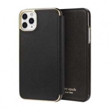 kate spade new york Folio Case for iPhone 11 Pro - Black PU/Gold Logo