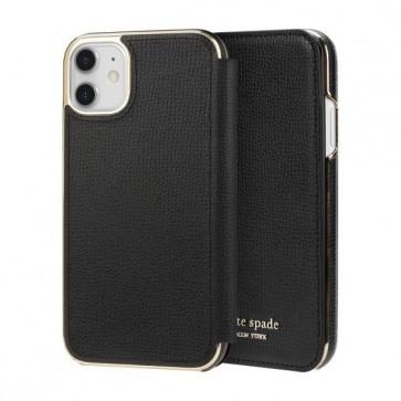 kate spade new york Folio Case for iPhone 11 - Black PU/Gold Logo