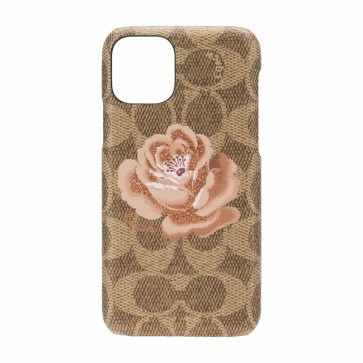 Coach Slim Wrap Case for iPhone 11 Pro - Signature C Khaki/Peony Pink/Glitter