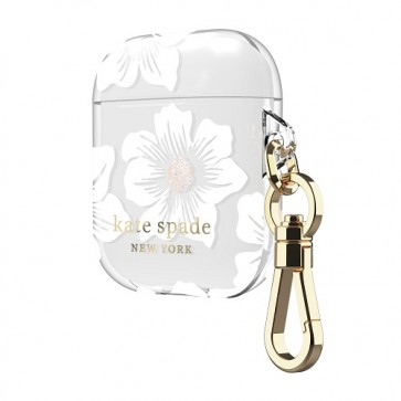 kate spade new york Flexible Case for AirPods - Hollyhock Cream/Blush/Translucent White/Glitter Flower Centers/Black Logo/Premium Gold Hardware