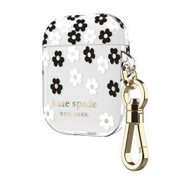 kate spade new york Flexible Case for AirPods - Scattered Flowers Black/White/Gold Foil/Translucent White/Black Logo/Premium Gold Harware
