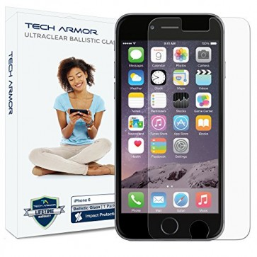 Tech Armor Ballistic Glass Screen Protector for Apple iPhone 6/6s/7/8 - 1-pack