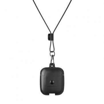 Woodcessories AirPod Leather Necklace Case Black
