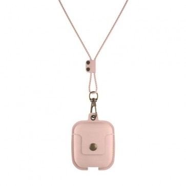 Woodcessories AirPod Leather Necklace Case Rose Nude