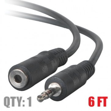 """3.5 MM (1/8"""") Stereo Cable Male to Female 6 Feet - Extends speakers or headphones"""