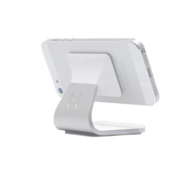 Bluelounge Milo Micro-Suction Stand (MO-AL-WH) for iPhone, iPod, & Most Smartphones - Mount - Retail Packaging - Silver/White