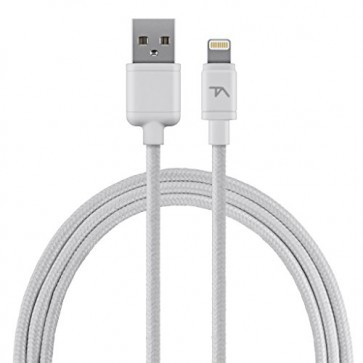 Tech Armor 8 pin Lightning USB cable, 2 ft, braided, white