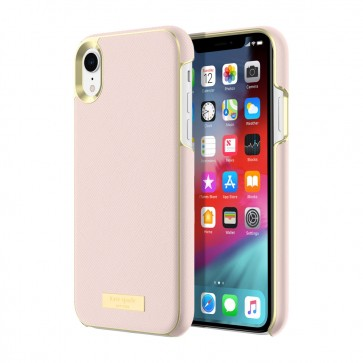 kate spade new york Wrap Case for iPhone XR - Saffiano Rose Quartz/Gold Logo Plate