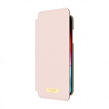 kate spade new york Folio Case for iPhone XR - Saffiano Rose Quartz/Gold Logo Plate