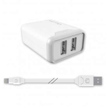 Qmadix Travel/Wall Charging Kit 4.8amp 2Port Hub, Lightning Cable