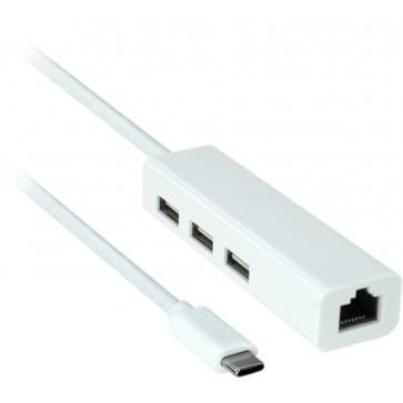Professional Cable USB-C to Ethernet RJ45 with 3 Port USB Hub --  USB 2.0 Hub. Gigabit Ethernet