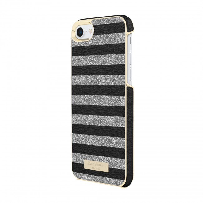 official photos 47721 456f0 kate spade new york Wrap Case for iPhone 8, iPhone 7 - Glitter Stripe Black  Saffiano/Silver Glitter