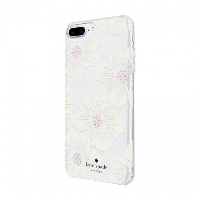 premium selection a2380 e3088 kate spade new york Protective Hardshell Case for iPhone 8 Plus, iPhone 7  Plus & iPhone 6 Plus/6s Plus - Hollyhock Floral Clear/Cream with Stones