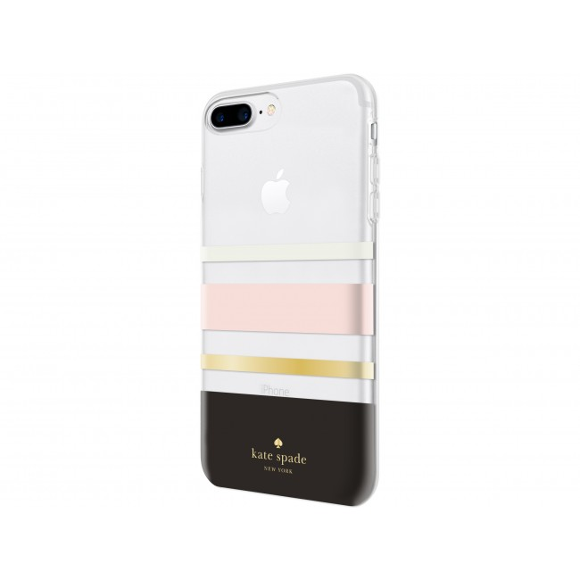 newest 394e0 fbb7c kate spade new york Protective Hardshell Case for iPhone 8 Plus, iPhone 7  Plus & iPhone 6 Plus/6s Plus - Charlotte Stripe Black/Cream/Blush/Gold Foil