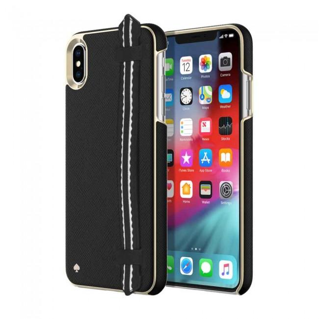 quality design 20a89 4a72a kate spade new york Wrap Strap Case for iPhone XS Max - Scallop Black  Saffiano/Gold Saffiano Scallop Strap