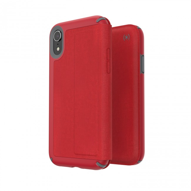 100% authentic c95f6 0145e Speck iPhone XR PRESIDIO FOLIO HEATHERED HEARTRATE RED/HEARTRATE  RED/GRAPHITE GREY