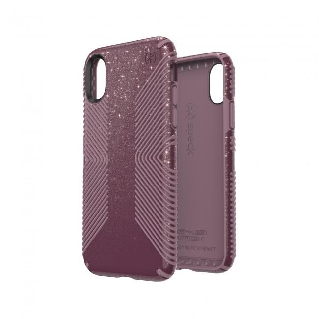 online store 23593 b5c88 Speck iPhone X/Xs PRESIDIO GRIP + GLITTER STARLIT PURPLE WITH GOLD  GLITTER/CATTLEYA PINK