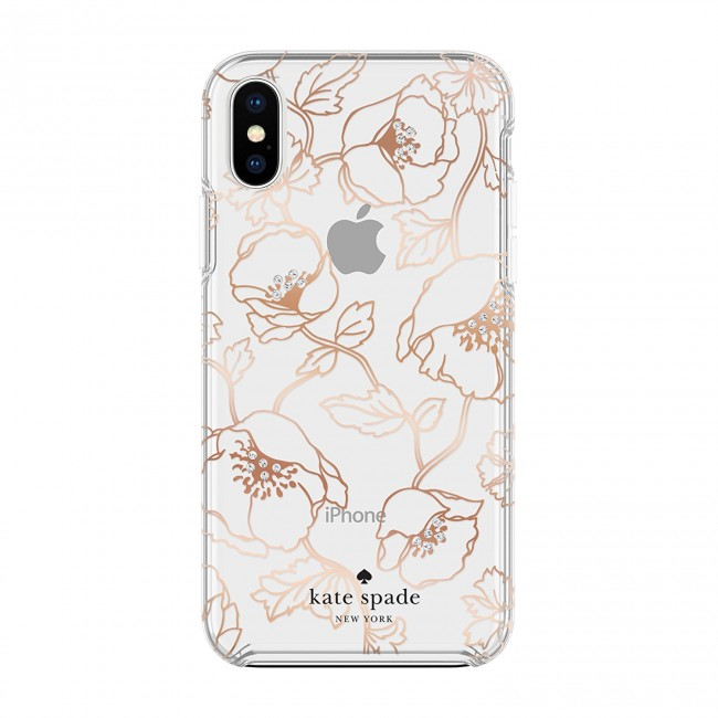 best sneakers 1fd85 7b17c kate spade new york Protective Hardshell Case (1-PC Comold) for iPhone X -  Dreamy Floral Rose Gold with Gems