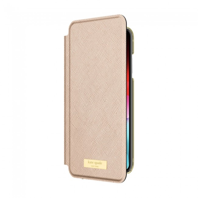 detailed look 53ced 98c0a kate spade new york Folio Case for iPhone XR - Saffiano Rose Gold/Gold Logo  Plate