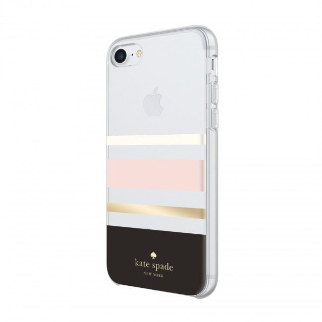 best service 42f1e dc7ef kate spade new york Protective Hardshell Case for iPhone 8, iPhone 7 &  iPhone 6/6s - Charlotte Stripe Black/Cream/Blush/Gold Foil
