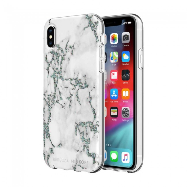 new product 9cf31 10d71 Rebecca Minkoff Be Flexible Case for iPhone X & iPhone XS - Black Glitter  Marble