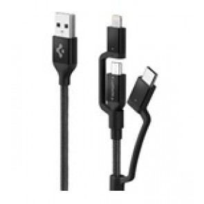 Spigen Essential USB Charge/Sync Cable 3in1 USB-C/Lightning/micro 1.5m/5 ft USB Braided Black