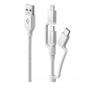Spigen Essential USB Charge/Sync Cable 3in1 USB-C/Lightning/micro 1.5m/5 ft USB Braided Silver