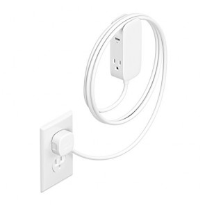 Bluelounge Portiko White - 6-foot extension cord with two 100V outlets and two USB ports