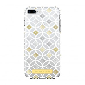 Trina Turk Translucent Case (1-PC) for iPhone 7 Plus & iPhone 6 Plus/6s Plus - Breeze Block Geo White/Gold/Silver/Clear