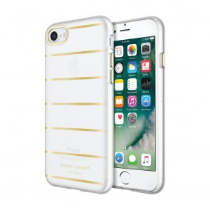 Sugar Paper Printed Case for iPhone 7 - Stripe Metallic Gold/Clear