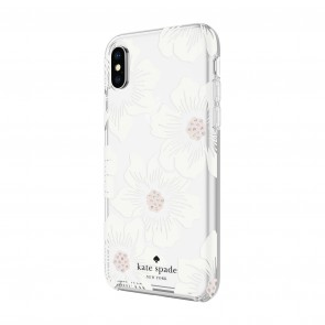 kate spade new york Protective Hardshell Case (1-PC Comold) for iPhone X/Xs - Hollyhock Floral Clear/Cream with Stones