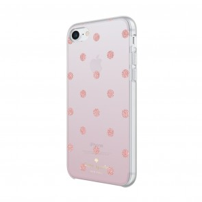 kate spade new york Protective Hardshell Case for iPhone 8, iPhone 7 & iPhone 6/6s - Glitter Dot Foxglove Ombre/Rose Gold Foil/Rose Gold Glitter