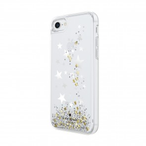 kate spade new york Liquid Glitter Case for iPhone 8, iPhone 7 - Stars Silver Foil/Gold Foil/Star Confetti Silver Glitter