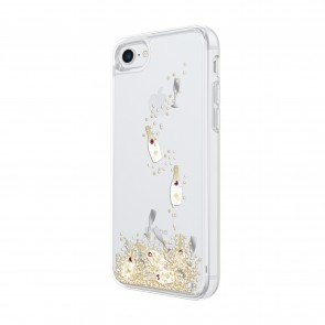 kate spade new york Liquid Glitter Case for iPhone 8, iPhone 7 - Champagne Bottle and Glass Confetti Gold Glitter