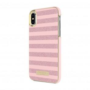 kate spade new york Wrap Case for iPhone X - Glitter Stripe Rose Quartz Saffiano/Rose Gold Glitter
