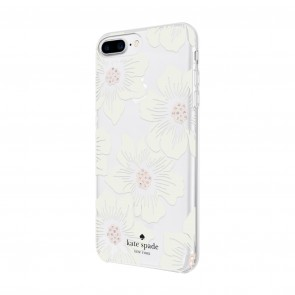 kate spade new york Protective Hardshell Case for iPhone 8 Plus, iPhone 7 Plus & iPhone 6 Plus/6s Plus - Hollyhock Floral Clear/Cream with Stones