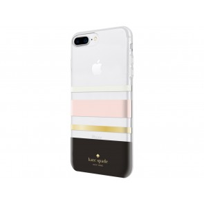 kate spade new york Protective Hardshell Case for iPhone 8 Plus, iPhone 7 Plus & iPhone 6 Plus/6s Plus - Charlotte Stripe Black/Cream/Blush/Gold Foil