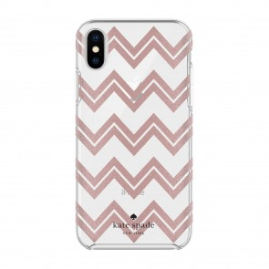 kate spade new york Protective Hardshell Case for iPhone X - Chevron Rose Gold Glitter/Clear