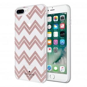 kate spade new york Protective Hardshell Case for iPhone 8 Plus, iPhone 7 Plus & iPhone 6 Plus/6s Plus - Chevron Rose Gold Glitter/Clear