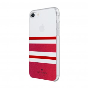 kate spade new york Protective Hardshell Case for iPhone 8, iPhone 7 & iPhone 6/6s - Charlotte Stripe Red/Red Glitter