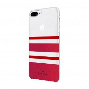 kate spade new york Protective Hardshell Case for iPhone 8 Plus, iPhone 7 Plus & iPhone 6 Plus/6s Plus - Charlotte Stripe Red/Red Glitter