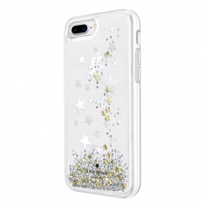 kate spade new york Liquid Glitter Case for iPhone 8 Plus & iPhone 7 Plus - Stars Silver Foil/Gold Foil/Star Confetti Silver Glitter