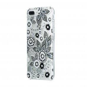 Vera Bradley Flexible Frame Case for iPhone 8 Plus, iPhone 7 Plus & iPhone 6 Plus/6s Plus - Snow Lotus Black/White/Silver/Clear Gems
