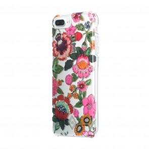 Vera Bradley Flexible Frame Case for iPhone 8 Plus, iPhone 7 Plus & iPhone 6 Plus/6s Plus- Coral Floral Multi/Multi Glitter/Cream/Clear