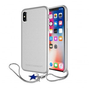 Rebecca Minkoff Never Not Leather Case with Charm for iPhone X - Metallic Silver/Star Charm
