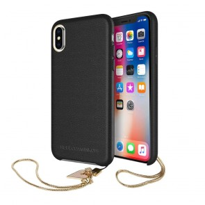 Rebecca Minkoff Never Not Leather Case with Charm for iPhone X - Black/Heart Charm
