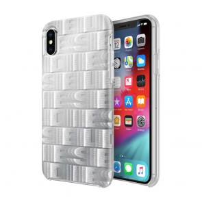 Diesel Printed Co-Mold Case for iPhone X/Xs - Reapeating Logo White/Silver Foil/Clear Bumper