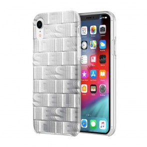 Diesel Printed Co-Mold Case for iPhone XR - Reapeating Logo White/Silver Foil/Clear Bumper