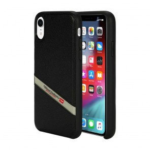 Diesel Leather Co-Mold Case for iPhone XR - Black Leather Diagonal Logo/Black Bumper